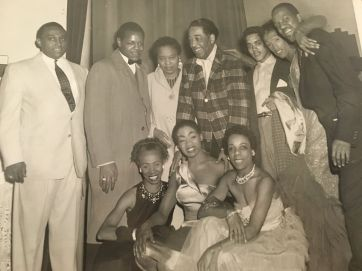 Photo: WBHM ; Duke Ellington with Loretta Whyte (front right), poss. Mary Young (front left) Satin Doll (Front Middle). Top Right, Whyte's Son Archie